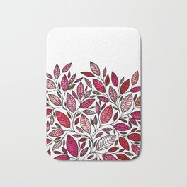Red Leaf - Floral Illustration *P07 003 Bath Mat