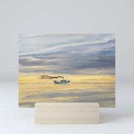 Old Cargo Ship Steaming on the Horizon Mini Art Print