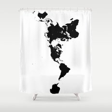 World Shower Curtains Society - Hand lettered us map black and white shower curtain