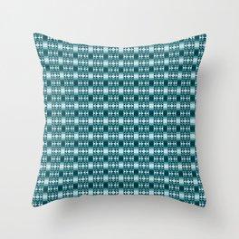 Modern Aztec Geometric Tribal Pattern in Cool Blues Throw Pillow