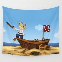 pirate ship Wall Tapestries featuring Pirate by TubaTOPAL