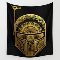 gold foil Wall Tapestries featuring Mandala BobaFett - Gold Foil by Spectronium - Art by Pat McWain