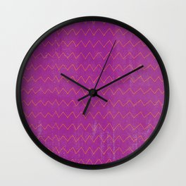 Abstract geometrical magenta pink orange watercolor chevron Wall Clock