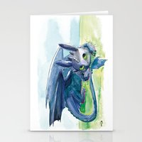 how to train your dragon Stationery Cards featuring How to Train Your Dragon - Toothless by PinStripes Studios