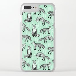 Fox pattern drawing foxes cute andrea lauren mint forest animals woodland nursery Clear iPhone Case