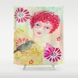 Whimiscal Girl with Red Curly Hair Shower Curtain