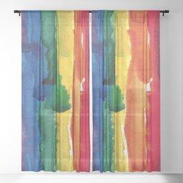 rainbow watercolor Sheer Curtain