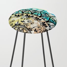 Flower Mandala Pattern Counter Stool