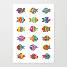 Fishes colorful fun graphic pattern design Canvas Print