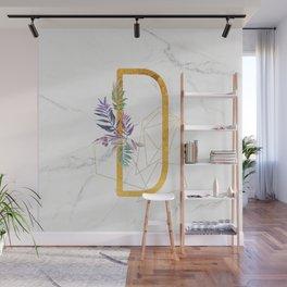 Modern glamorous personalized gold initial letter D, Custom initial name monogram gold alphabet prin Wall Mural