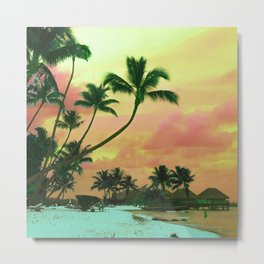 Tahitian Sunset Colorized, Teal and Peach Metal Print