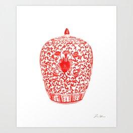 Coral Red Ginger Jar 1 Art Print
