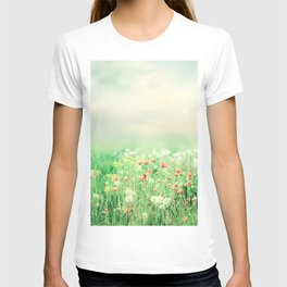 Beautiful vintage summer landscape with sun and flowers T-shirt