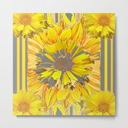 GREY & YELLOW  FLOWER DECO MODERN ART Metal Print