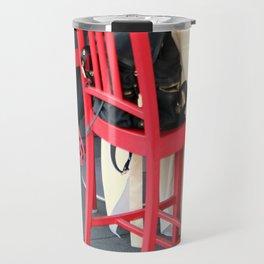 Sitting Cross Legged On The Red Chair Travel Mug
