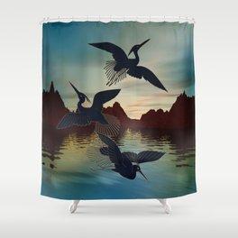 3 Black Herons At Sunset Shower Curtain