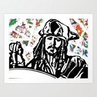 jack sparrow Art Prints featuring Jack Sparrow....Captain Jack Sparrow.. by Kramcox