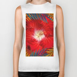 DECORATIVE  TROPICAL  RED HIBISCUS  PALM LEAVES Biker Tank