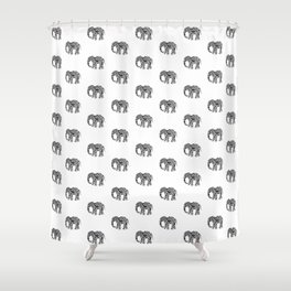 Elephant Flourish in Black Shower Curtain