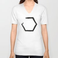 hexagon V-neck T-shirts featuring White Hexagon by C Designz