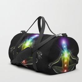 Humanoid in lotus yoga pose with glowing chakras Duffle Bag