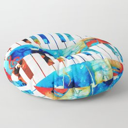 Colorful Piano Art by Sharon Cummings Floor Pillow
