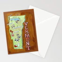 VERMONT map Stationery Cards
