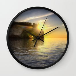 Pictured Rocks Sunset Wall Clock