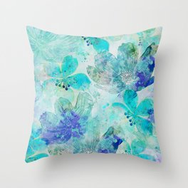 blue turquoise mixed media flower illustration Throw Pillow