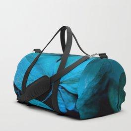 Shiny turquoise petals on a black background - #society6 #buyart Duffle Bag