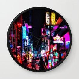 Vibrant Seoul Nights Wall Clock