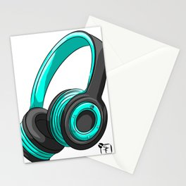 Blue and black headset Stationery Cards