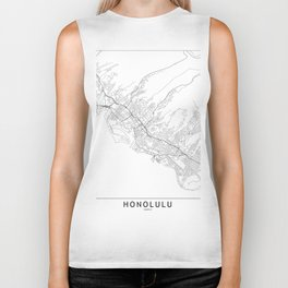 Honolulu White Map Biker Tank