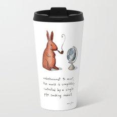 Pipe-smoking rabbit Travel Mug