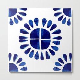 Blue Sun Tile Medallion  Metal Print
