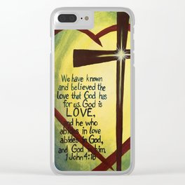 God Is Love Cross Clear iPhone Case