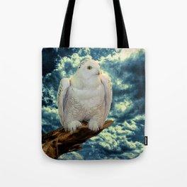 Snowy Owl against Aqua Sky Country Decor A147 Tote Bag