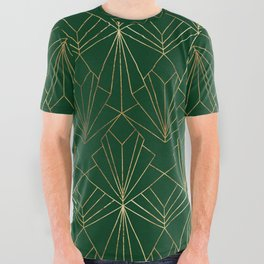 Art Deco in Gold & Green - Large Scale All Over Graphic Tee