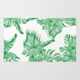 Palm Leaves and Hibiscus Tropical Green Rug