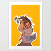 hermione Art Prints featuring Hermione (yellow) by batcii