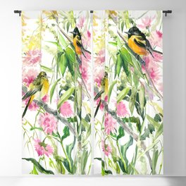 Baltimore Oriole and Garden Flowers Blackout Curtain