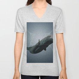 Whale Dream - Deep Sea Animal Illustration Unisex V-Neck