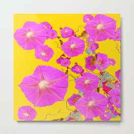 Fuchsia Pink & Gold Morning Glories Colored Pattern Metal Print