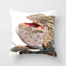 A Chameleon With Open Mouth Isolated Throw Pillow