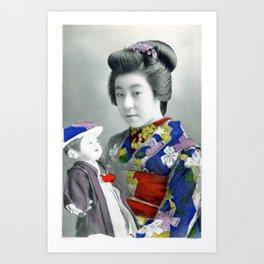 Vintage hand tinted Japanese postcard Art Print