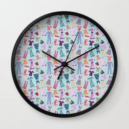 Dress Papercut Pattern - blue Wall Clock