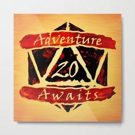 D20 Adventure Awaits Watercolor Way of Blood Metal Print