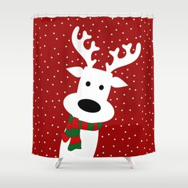 Reindeer in a snowy day (red) Shower Curtain