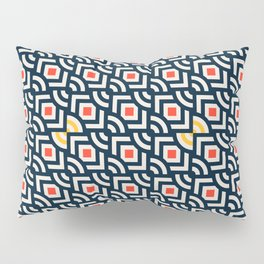 Round Pegs Square Pegs Navy Blue Pillow Sham