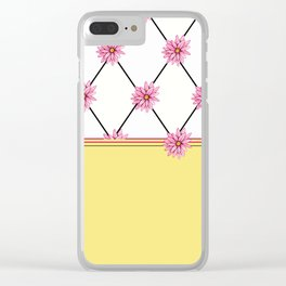 Pink Daisy + Diamonds: Yellow Clear iPhone Case